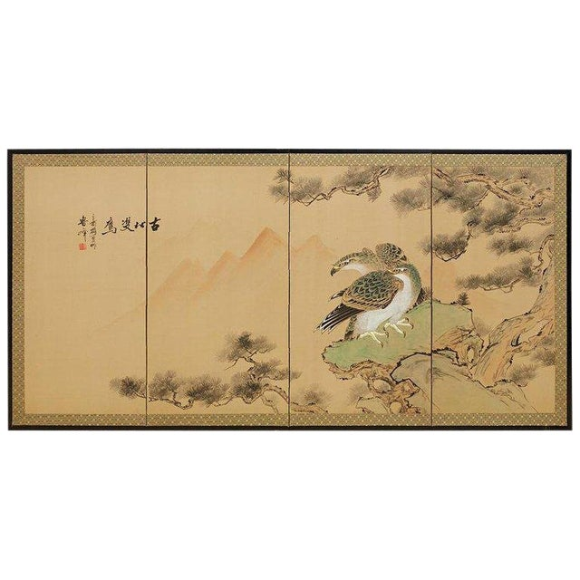 Japanese Four Panel Screen of Hawks in Pine Tree For Sale