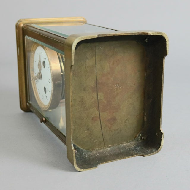 Brass Antique Tiffany & Co. Crystal and Brass Regulator Mantel Clock, circa 1890 For Sale - Image 8 of 9