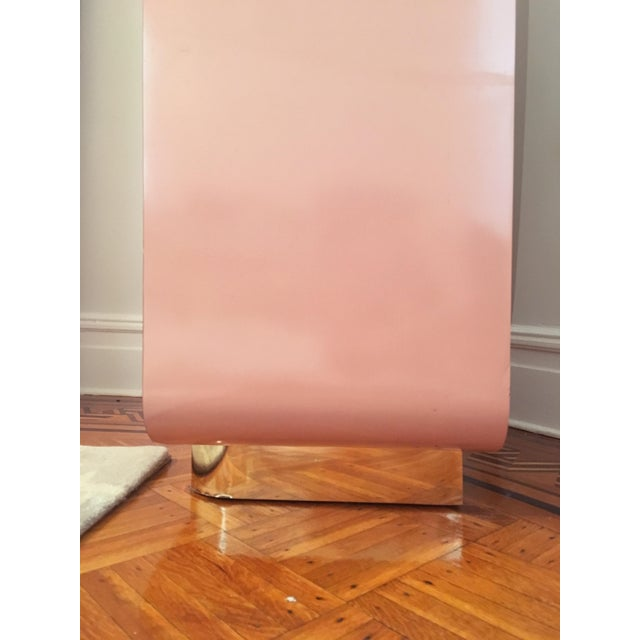 Brass Modern Rose Pink Laminate Armoire With Brass Base For Sale - Image 7 of 12