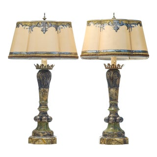20th C. Italian Style Painted Lamps - a Pair For Sale