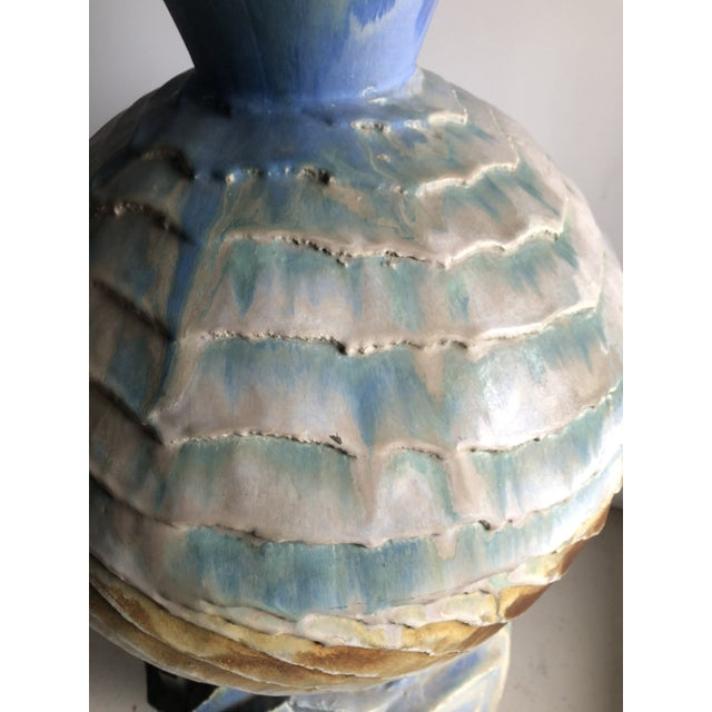 Late 20th Century Monumental Sculptural Studio Pottery Vessel Floor Vase by Josh Green For Sale - Image 5 of 8