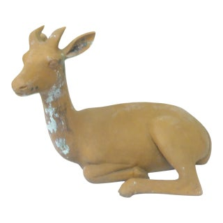 Vintage Mediteranean Terra Cotta Deer Sculpture For Sale