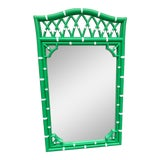 Image of 1970s Thomasville Green Faux Bamboo Mirror For Sale