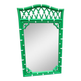 1970s Thomasville Green Faux Bamboo Mirror For Sale