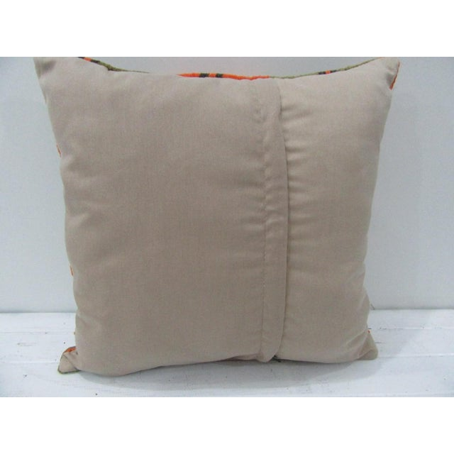 Contemporary Vintage Orange and Green Striped Turkish Kilim Pillow Cover For Sale - Image 3 of 4