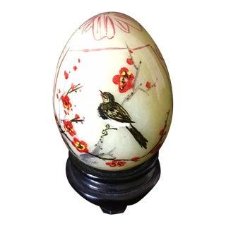 Vintage Jade Egg on Stand For Sale