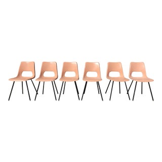 Mid-Century Modern Pink Brunswick Fiberglass Chairs - Set of 6