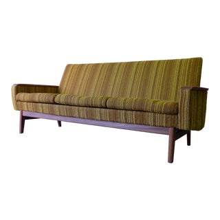 Mid Century Modern Jens Risom Tweed + Teak Sofa For Sale