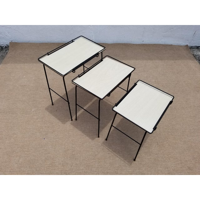 Mathieu Mategot Style Nesting Tables - Set of 3 For Sale - Image 11 of 12