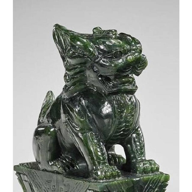 Asian 20th Century Chinese Carved Lion Sculptures - a Pair For Sale - Image 3 of 4