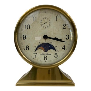 Seth Thomas Brass Finish Moon Phase Pedestal Clock For Sale