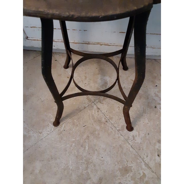 Black 19th Century Vintage French Drafting Wood and Iron High Stool For Sale - Image 8 of 9