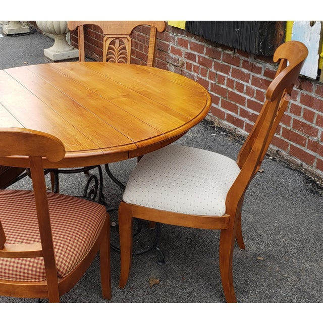 Ethan Allen Legacy Collection Maple Table W/ Wrought Iron Base & 4 Side Chairs C1990s For Sale In New York - Image 6 of 13