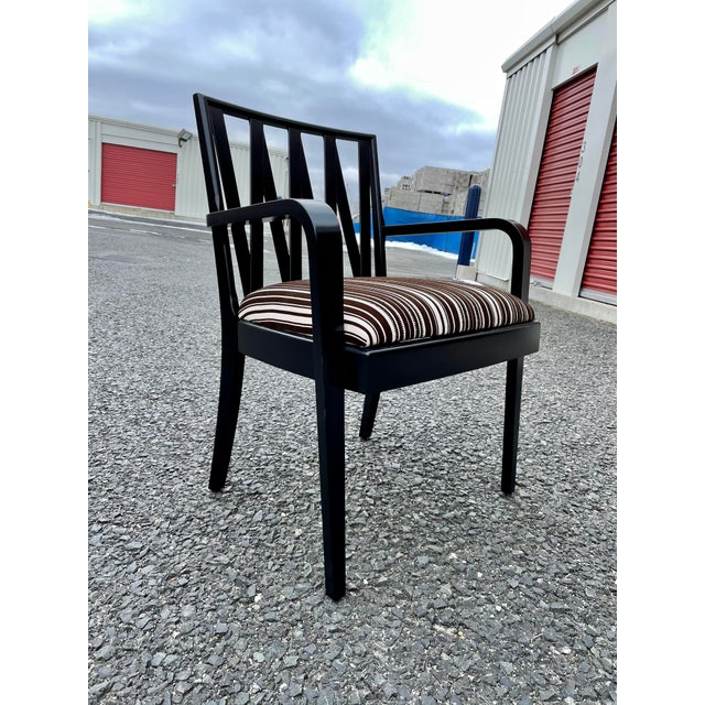 Fantastic single Armchair/Dining Chair designed by Paul Frankl for Johnson Furniture, 1950s. Restored recently with fresh...