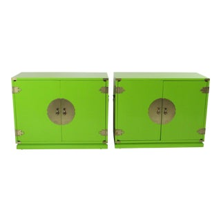 20th Century Hollywood Regency Green Cabinets - a Pair For Sale