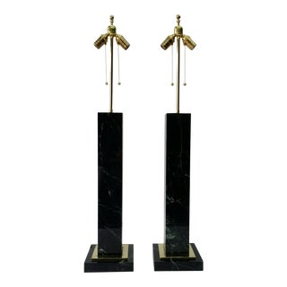 Monumental Pair of Vermont Verde Green Marble and Brass Lamps For Sale