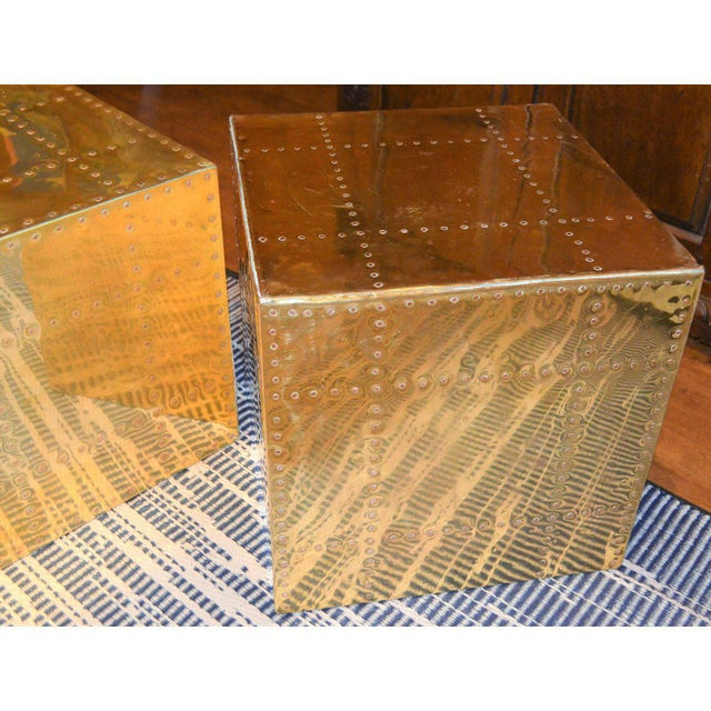 Brass Sarreid Ltd. Brass Cube Side Tables - a Pair For Sale - Image 7 of 10