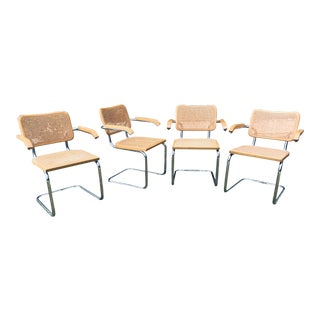 Vintage Mid Century Modern Marcel Breuer Cane Chrome Cesca Chairs - Set of 4 For Sale