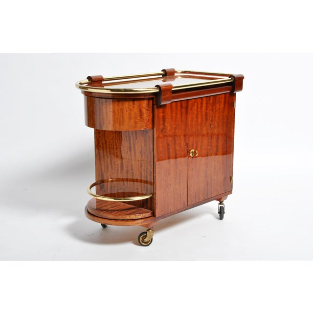 Hungarian Mid-Century Modern Mahogany Bar Cart For Sale - Image 11 of 13