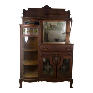 Art Nouveau Combination Curio Server Breakfront Cabinet For Sale