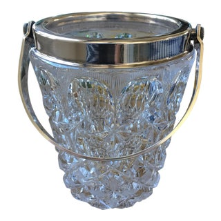 Vintage French Crystal & Silver Ice Bucket For Sale