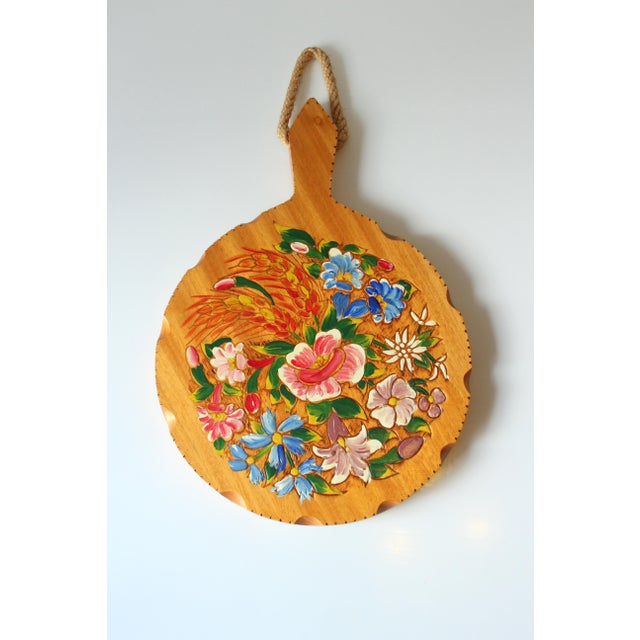 1950s Old Handpainted Wooden Breakfast Plate, Vintage From the 1950s For Sale - Image 5 of 5