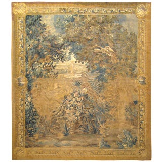 Antique 18th Century Flemish Verdure Landscape Tapestry With Birds & Large Trees For Sale