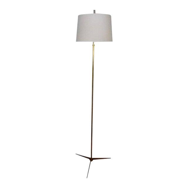 Mid-Century Modern Paul McCobb Style Brass Tripod Floor Lamp For Sale