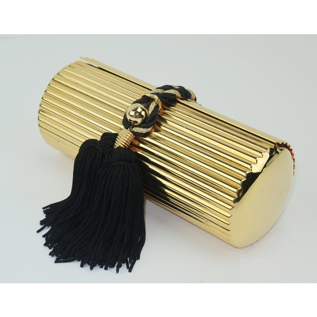 Walborg Gold Metal Cylinder Handbag With Black Tassel Closure For Sale - Image 4 of 13