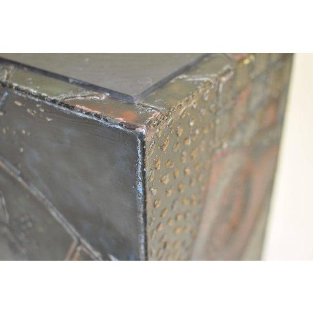 Metal Paul Evans Welded Steel Cube Table For Sale - Image 7 of 8