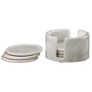 White Marble Coaster Set - Set of 6 For Sale