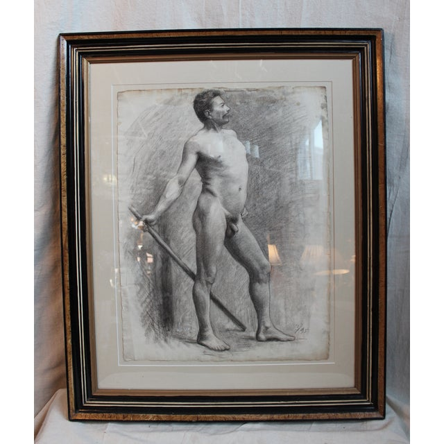 Charcoal on paper male nude drawing dated March 1895 (3/95) by Milwaukee artist, George Rabb, (1866-1943). George Rabb...