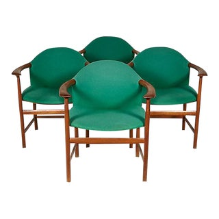 Danish Teak Sculpted Armchairs, Set of 4