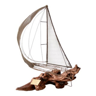 1970s Brass and Driftwood Boat Sculpture For Sale