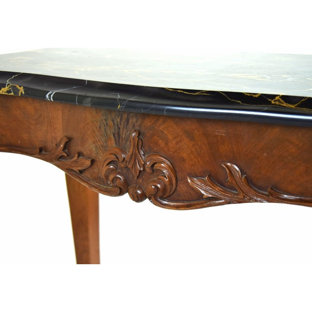 Brown Antique French Louis XV Heavily Carved Marble Top Hall Console Table Cabriolet Legs For Sale - Image 8 of 12