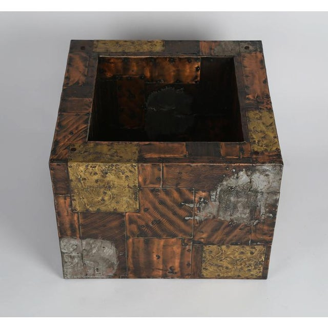 PAUL EVANS PEWTER, BRASS AND COPPER PATCHWORK COCKTAIL TABLE, CIRCA 1970S For Sale In New York - Image 6 of 7
