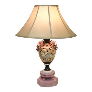 Antique Porcelain Roses Lamp on Punched Tin Base For Sale