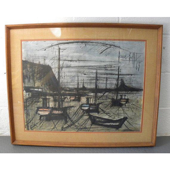 """Vintage Mid Century Early Rare Signed in Plate Bernard Buffet Lithograph Measures 31""""W x 25""""H Bernard Buffet was a French..."""