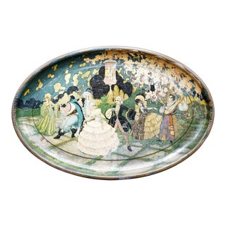French Hand-Painted Gilt Tole Tray For Sale