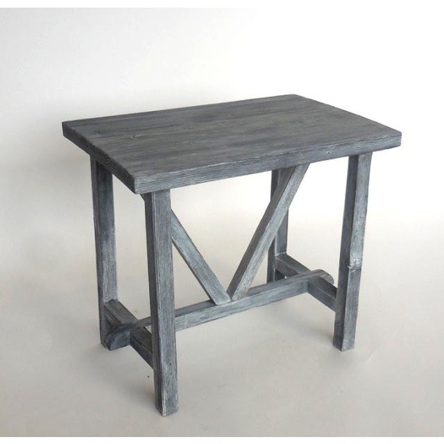Rustic Customizable Reclaimed Wood Side Table For Sale - Image 3 of 7