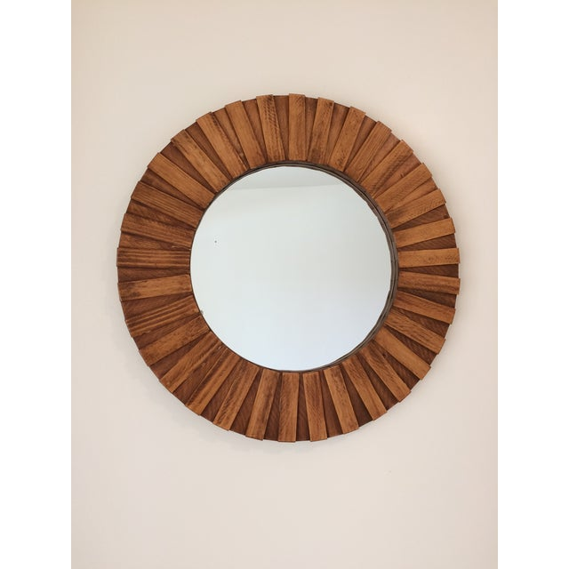 """Wood Round Wall Mirror Teak Color 26"""" For Sale - Image 7 of 11"""