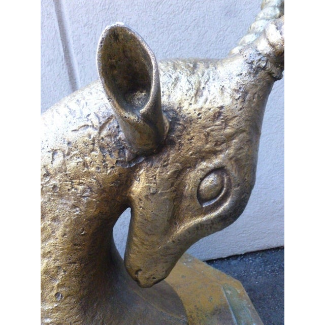 70's Bronze & Zinc Antelope Head Console Table Base For Sale - Image 10 of 12