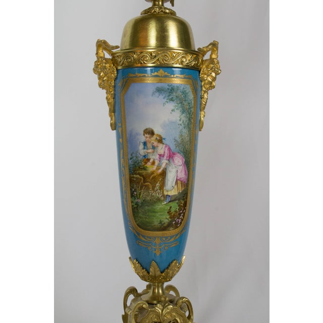 Large Urn Form French Gilt Bronze and Turquoise Porcelain Candelabra For Sale - Image 9 of 10