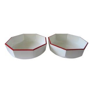 Vintage Katja Japan White & Red Bowls - a Pair For Sale