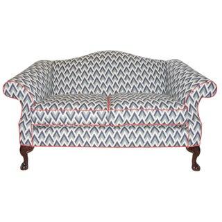 Refurbished Upholstered Camel Back Blue Sofa