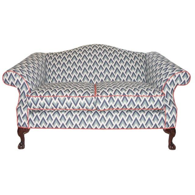 Refurbished Upholstered Camel Back Blue Sofa - Image 1 of 3