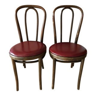 Vintage Thonet Bentwood Chairs in Burgundy For Sale
