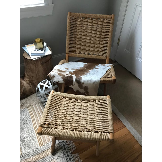 Hans Wegner Style Rope Lounge Chair & Ottoman - A Pair - Image 3 of 9
