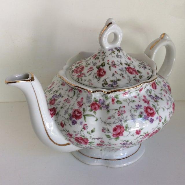 Vintage Rose Chintz Musical Tea Pot by Lefton For Sale - Image 13 of 13