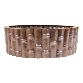 Bamboo Design Low Cachepot - Antique Copper by Robert Kuo, Hand Repoussé, Limited Edition For Sale